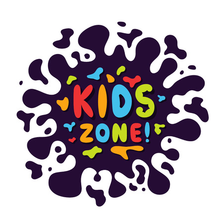 Kids zone background with colorful and playful letters. Abstract background with blot and bubble letters for game zone and childish playground. Vector