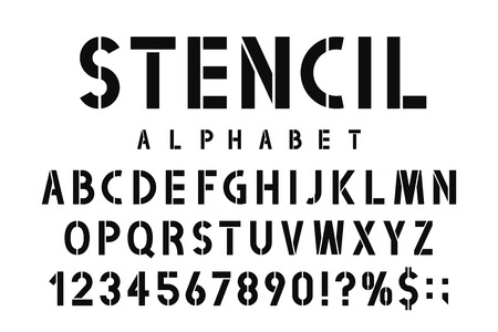 Military stencil font. Stencil alphabet with numbers in retro army style. Vintage and urban font for stencil-plate Vector
