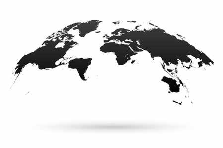 World map globe isolated on white background. Stylized world map in globe shape with shadow. Vector