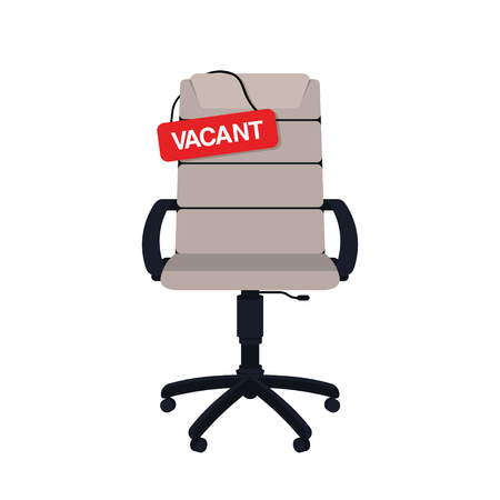 Business hiring and recruiting concept. Vacant position concept. Empty office chair with vacant sign isolated on white background. Vector