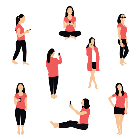 Crowd of people with smartphones. Women, teens, young girls are using smartphones, texting, talking and taking selfie. Social network and messengers concept. Characters in flat isometric style. Vector