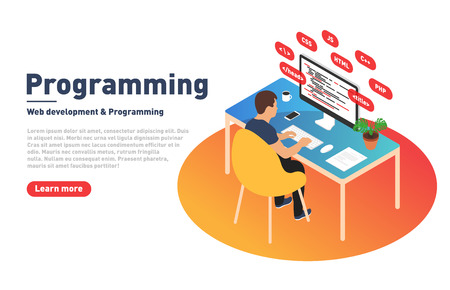 Programming and web development concept. Programmer is working on computer. Developer and modern workplace in isometric projection. Landing page template. Vector