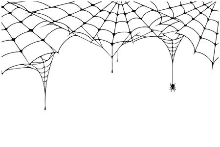 Enge spinnenwebachtergrond. Spinnewebachtergrond met spin. Spookachtig spinnenweb voor Halloween-decoratie. Vector