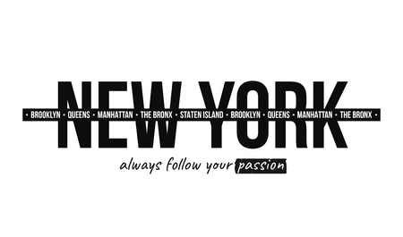 Slogan graphic for t-shirt print. T-shirt design with slogan. New York, modern typography for tee print with stripes. Vector