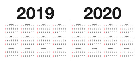 Kalender 2019 und 2020 Vorlage. Kalenderdesign in schwarzen und weißen Farben, Feiertage in roten Farben. Vektor Vektorgrafik