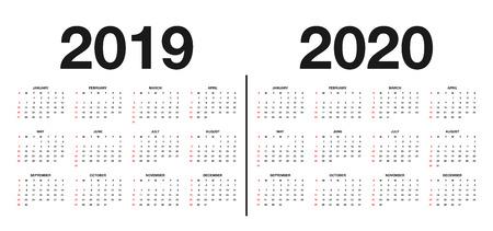 Modello di calendario 2019 e 2020. Design del calendario nei colori bianco e nero, festività nei colori rosso. Vettore Vettoriali