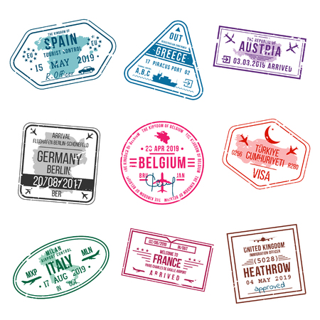 Set of visa stamps for passports. International and immigration office stamps. Arrival and departure visa stamps to Europe - Spain, Greece, Germany, Turkey, Italy, France, United kingdom etc. Vector Standard-Bild - 115479022