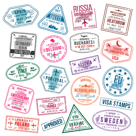 Set of visa stamps for passports. International and immigration office stamps. Arrival and departure visa stamps to Europe - Spain, Germany, Portugal, Turkey, Poland, Russia, United Kingdom etc. Vector