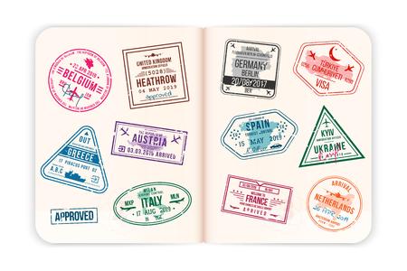 Realistische Passseiten mit Visumstempeln. Öffnen Sie einen ausländischen Reisepass mit benutzerdefinierten Visastempeln. Reisekonzept in europäische Länder. Vektor Vektorgrafik