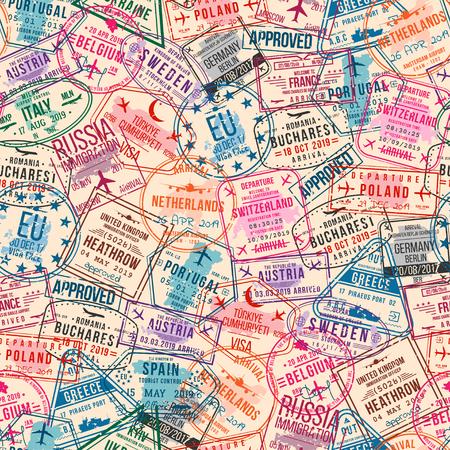 Bolli di visto del passaporto, modello senza cuciture. Timbri di gomma dell'ufficio internazionale e dell'immigrazione. Concetto di viaggio e turismo, sfondo vintage. Vettore