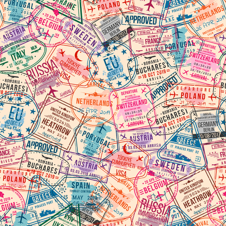 Passport visa stamps, seamless pattern. International and immigration office rubber stamps. Traveling and tourism concept, vintage background. Vector 스톡 콘텐츠 - 115479035