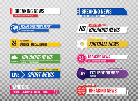 Terzo modello inferiore. Set di banner e barre TV per canali di notizie e sport, streaming e trasmissione. Raccolta del terzo inferiore per l'editing video su sfondo trasparente. Vettore
