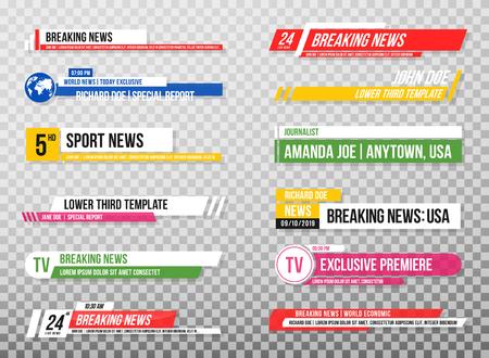 Dolny trzeci szablon. Zestaw banerów telewizyjnych i barów dla kanałów informacyjnych i sportowych, transmisji strumieniowych i nadawania. Kolekcja dolnej trzeciej do edycji wideo na przezroczystym tle. Wektor Ilustracje wektorowe