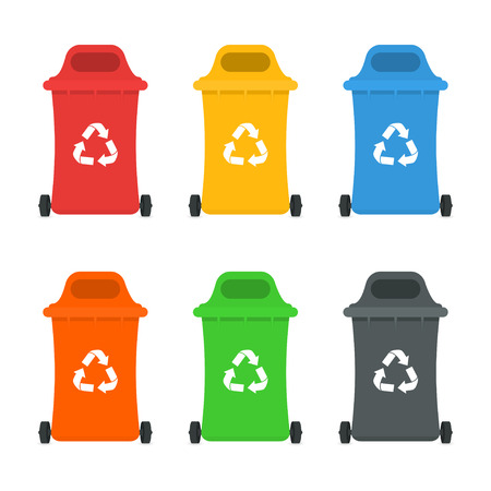 Waste sorting and recycling sorting management concept. Colorful garbage containers and bins for different types of waste and rubbish. Vector