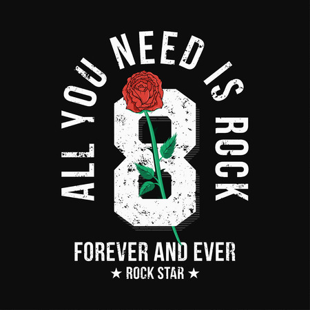 Rock music style t-shirt design with red rose and number. College and varsity style graphic for t-shirt print with grunge background. Vector