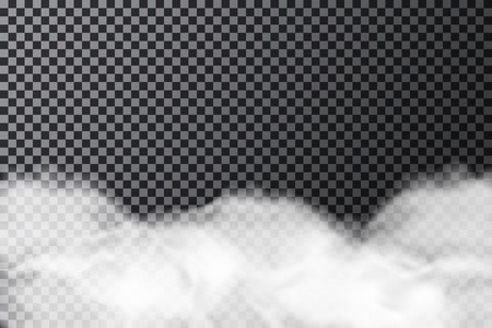 Smoke cloud on transparent background. Realistic fog or mist texture isolated on background. Vector Ilustração