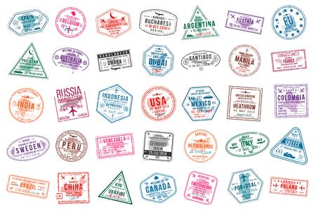Set reisvisumzegels voor paspoorten. Postzegels voor internationale en immigratiekantoren. Aankomst- en vertrekvisumstempels naar Europa, Amerika, Azië en Australië. Vector
