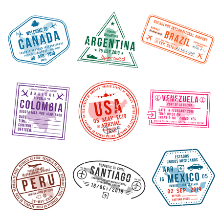 Set of travel visa stamps for passports. International and immigration office stamps. Arrival and departure visa stamps to American countries - USA, Canada, Brazil, Mexico. Vector 向量圖像