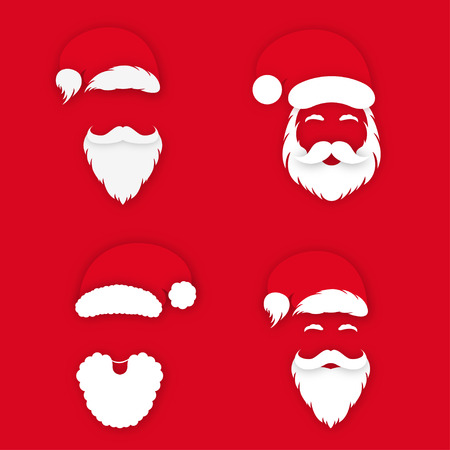 Santa Claus in hat on red background. Set of Santa Clauss faces silhouette with lush beard, mustaches and eyebrows. Vector