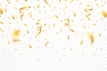 Golden confetti and festive ribbons. Falling realistic glitters with confetti, defocused and bokeh effect, transparent background. Vector