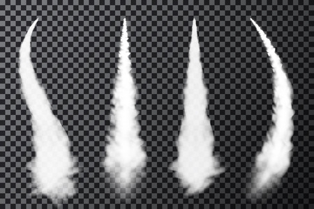 Realistic airplane condensation trails. Smoke from jet or rocket launch. Set of smoke contrails and streaks of condensed water vapor. vector Ilustração