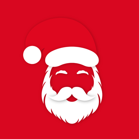 Santa Claus in hat on red background. Santa Clauss face silhouette with lush beard, mustaches and eyebrows. Vector Ilustração