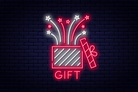 Gift box, neon sign. Reward or bonus concept, prize or surprise. Gift and firework, neon style sign board. Vector