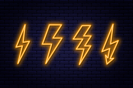 Set of neon lightning bolt signs. Neon sign of electricity or high-voltage symbol on brick wall background. vector