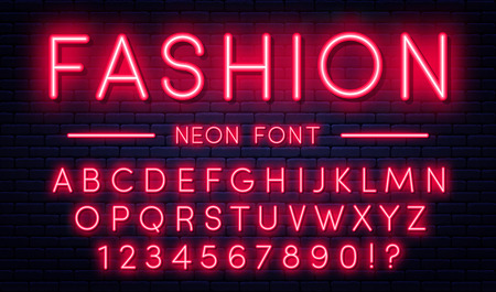 Neon alphabet with numbers. Red neon style font, fluorescent lamps on brick wall background. Vector Ilustração
