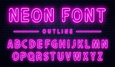 Neon alphabet with numbers. Purple neon font, fluorescent lamps on brick wall background, outline style font. Vector Ilustração