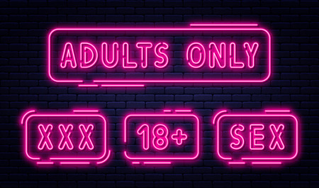 Set of neon signs, adults only, 18 plus, sex and xxx. Restricted content, erotic video concept banner, billboard or signboard template in neon light style. Vector