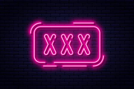 Neon, tylko dla dorosłych, 18 lat plus i xxx. Treści z ograniczeniami, baner koncepcji wideo, szablon billboardu lub szyldu w stylu neonowym. Wektor