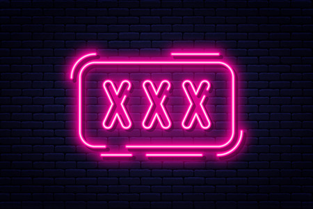 Neon sign, adults only, 18 plus, sex and xxx. Restricted content, erotic video concept banner, billboard or signboard template in neon light style. Vector