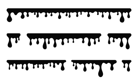Dripping paint, liquid stains. Oil or paint drops and splatters. Black silhouette of melted and dripping chocolate, cream, paint. Vector