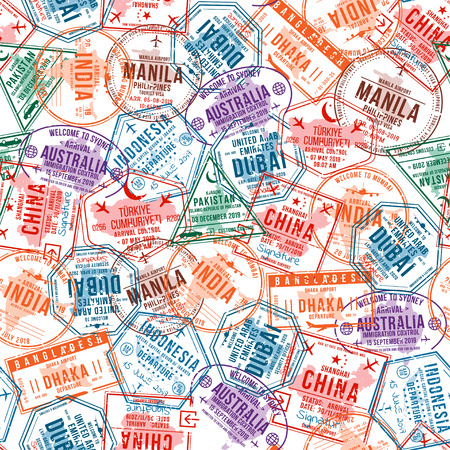 Passport visa stamps, seamless pattern. International and immigration office rubber stamps. Traveling and tourism concept background. Vector 向量圖像