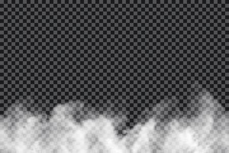 Nuages de fumée sur fond transparent. Texture réaliste de brouillard ou de brume isolée sur fond. Effet de fumée transparente. Vecteur