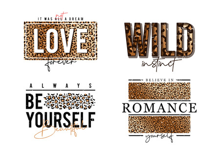 T-shirt design with leopard print. Slogan t-shirt with leopard skin texture. Set of trendy t shirts with graphic print. Vetor