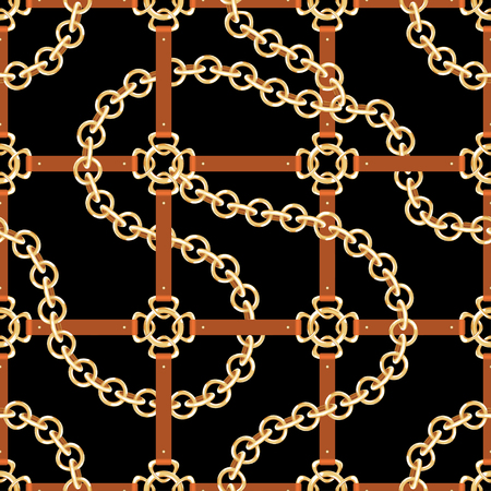 Golden chains and belts, seamless pattern. Baroque style fashion pattern with chains and belts. Vector