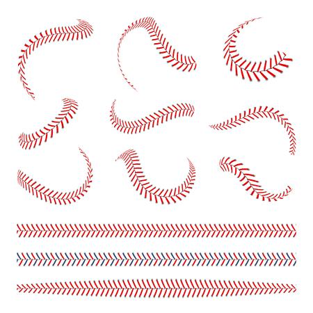 Baseball-Schnürsenkel eingestellt. Baseballstiche mit roten Fäden. Sport grafische Elemente und nahtlose Pinsel. Rote Schnürsenkel und Stiche auf weißem Hintergrund Vektorgrafik