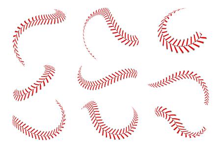 Ensemble de lacets de baseball. Points de baseball avec des fils rouges. Éléments graphiques sportifs et pinceaux sans soudure. Lacets et points rouges sur fond blanc