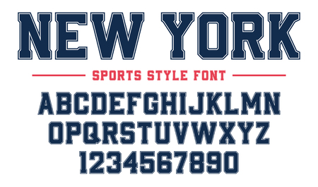 Classic college font. Vintage sport serif font in american style for football, soccer, baseball and basketball. Alphabet and numbers with outline in varsity style Vektorové ilustrace