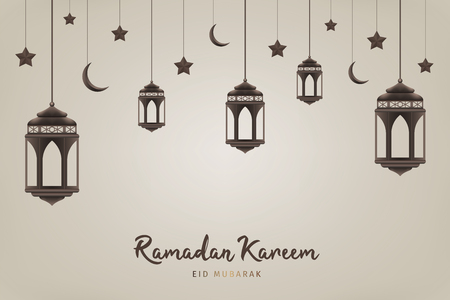 Ramadan Kareem background. Hanging lanterns, crescents and stars. Muslim feast of the holy month. Eid Mubarak greeting card template for Ramadan and Muslim Holidays