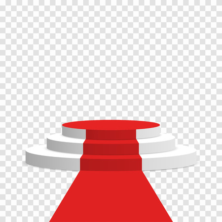 Stage podium with red carpet. White round pedestal with stairs isolated on transparent background. Stage for winners and award ceremony Illustration