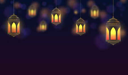 Ramadan Kareem background. Hanging lanterns and glowing lamps. Muslim feast of the holy month. Beautiful golden lanterns on dark blue background. Greeting card template for Ramadan and Muslim Holidays