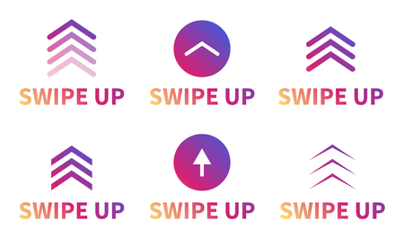 Swipe up, set of buttons for social media. Arrows, buttons and web icons for advertising and marketing in social media application. Scroll or swipe up Ilustração