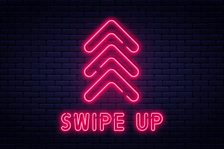 Swipe up, button for social media. Neon style arrow, button and web icon for advertising and marketing in social media application. Scroll or swipe up