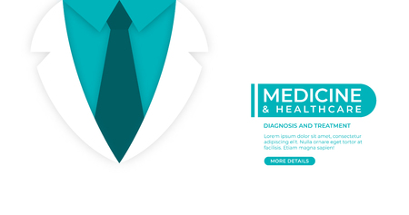 Medical and health care concept background. Doctor in lab coat on white background