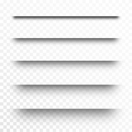 Conjunto de sombras transparentes, separadores de página. Efecto de sombra de papel realista aislado sobre fondo transparente. Vector