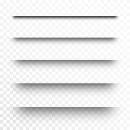 Zestaw przezroczystych cieni, dzielniki stron. Realistyczny papierowy efekt cienia na przezroczystym tle. Wektor