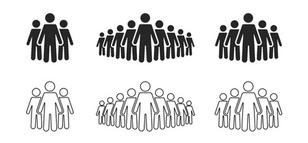 People icon set. Stick figures, people crowd icon for infographic isolated on background. Vector